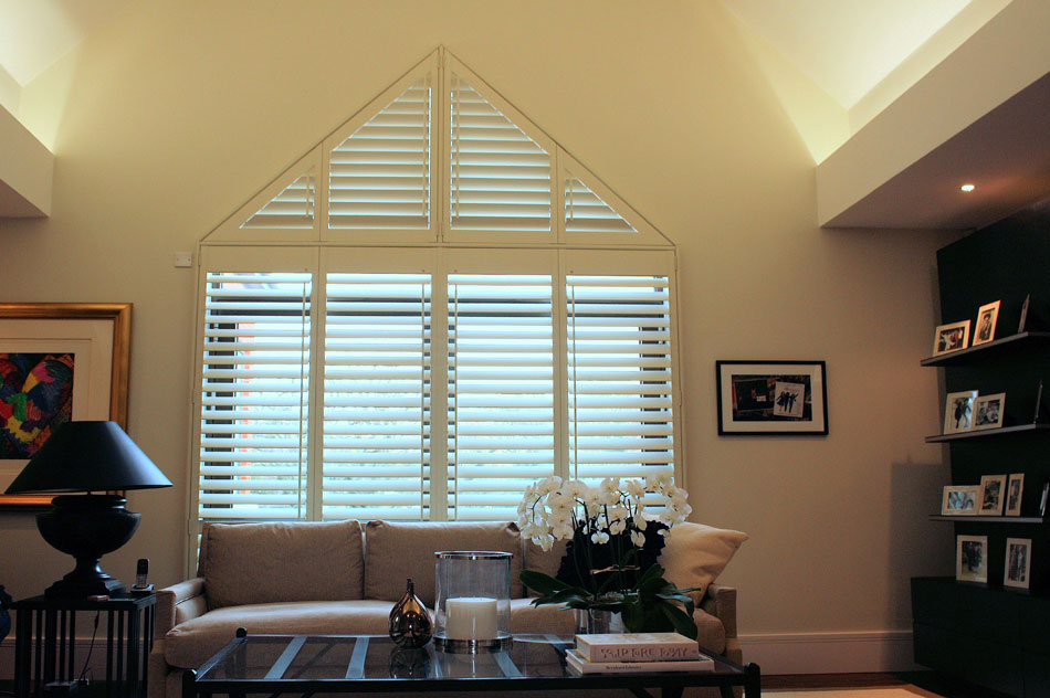 Special Shape Wooden Shutters in Silk White with Off Set Tilt Rod